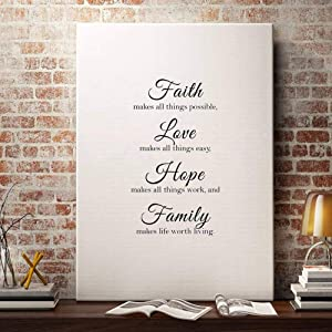 Bollepo Faith Makes All Things Possible, Love Makes All Things Easy, Hope Make All Things Work, and Family Makes Life Worth Living Kitchen Wall Decals Jesus Quotes Home Decoration