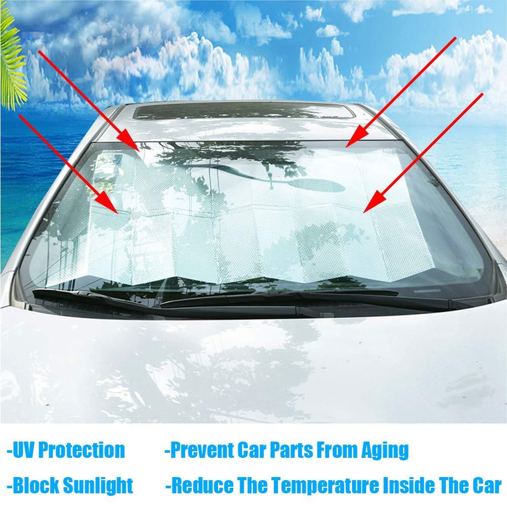 Auto Frontscheibe Windschutzscheibe Sonnenblende Autoscheiben UV-Schutz Faltbare Aluminiumfolie Scheibenabdeckung 160 x 70 cm Kaxich Auto Sonnenschutz