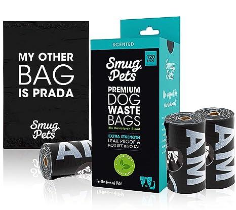 SmugPets - 120 Bolsas biodegradables para excrementos - Extragrandes y perfumadas