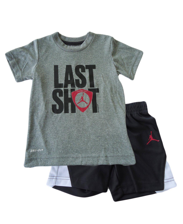 NIKE Toddler Air Jordan 'Last Shot' Graphic Tee & Shorts Set (3T, Black)