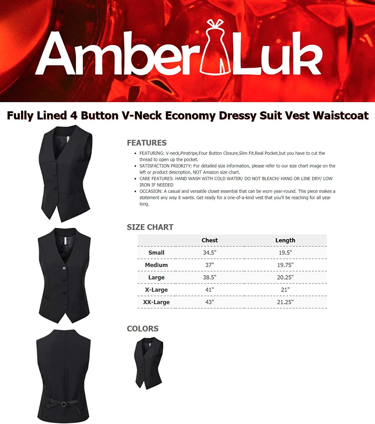 AmberLuk Womens Fully Lined 4 Button V-Neck Economy Dressy Suit Vest Waistcoat Black M