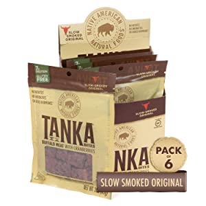 Bison Pemmican Meat Bites with Buffalo & Cranberries by Tanka, Gluten Free, Beef Jerky Alternative, Slow Smoked Original, 3 Oz, Pack of 6 (Packaging May Vary)