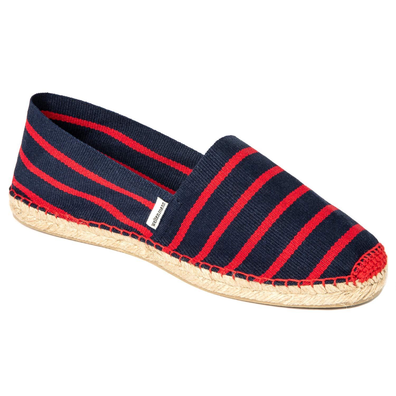 Handmade in Spain 41-46 WELTENMANN gestreifte Herren Slip-on Espadrilles aus Baumwolle mit Schuhbeutel