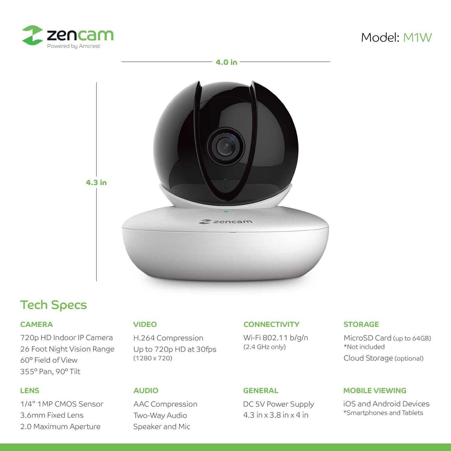 Zencam WiFi Camera MicroSD /& Cloud Storage Two Way Talk M2W-V2 Updated Firmware, 2018 White 1080p HD Indoor Pan Tilt Digital Zoom Wireless IP Security System with Night Vision 2.4Ghz Only