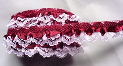 ruffle lace trim  with satin =PRICE  FOR 1 YARD=// select color//