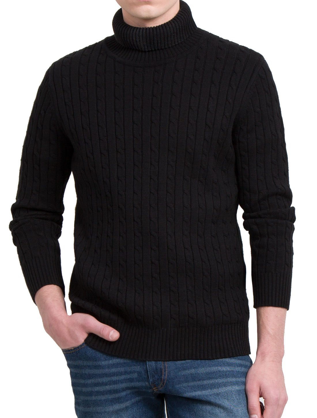 Allegra K Men Turtle-neck Long Sleeves Cable Knitted Sweater XLarge Black
