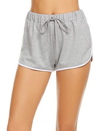 6a619c03b4 Damen Kurze Hose Shorts Schlafanzughose Schlafhose Yoga Sporthose Running  Gym Beiläufige Elastische Shorts, Grau,