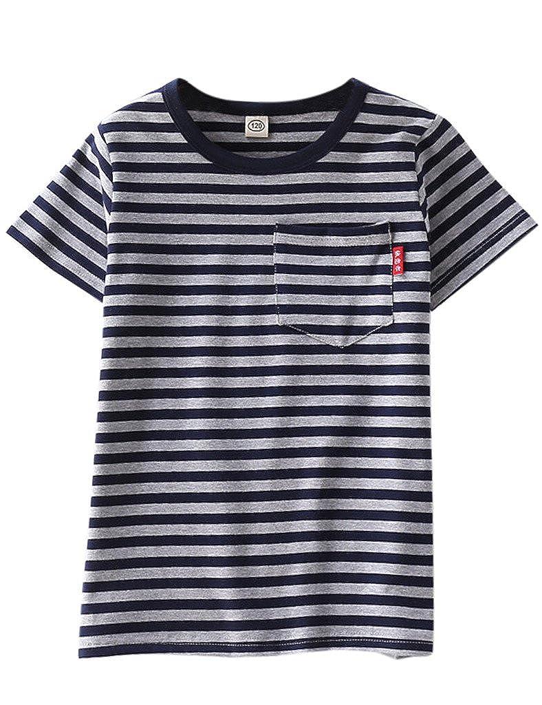 7417778c Amazon.com: ASHERANGEL Unisex Kids Classic Striped T-Shirt Girls Boys  Crewneck Jersey Tee: Clothing