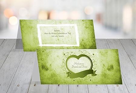 Segnaposto Matrimonio Verde Mela.Matrimonio Segnaposto Cuore Verde Mela 30 Karten Amazon It