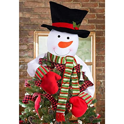 deggod christmas tree topper cute snowman top hat hugger winter wonderland party thanksgiving year xmas - Top Hat Christmas Decorations