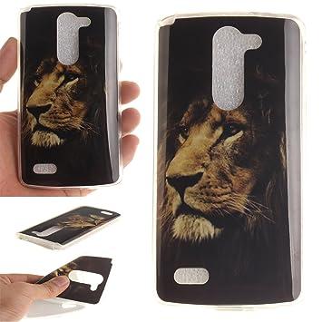 Qiaogle Teléfono Caso - Funda de TPU silicona Carcasa Case Cover para LG L Bello D331 D335 D337 (5.0 Pulgadas) - TX17 / Lonely lion