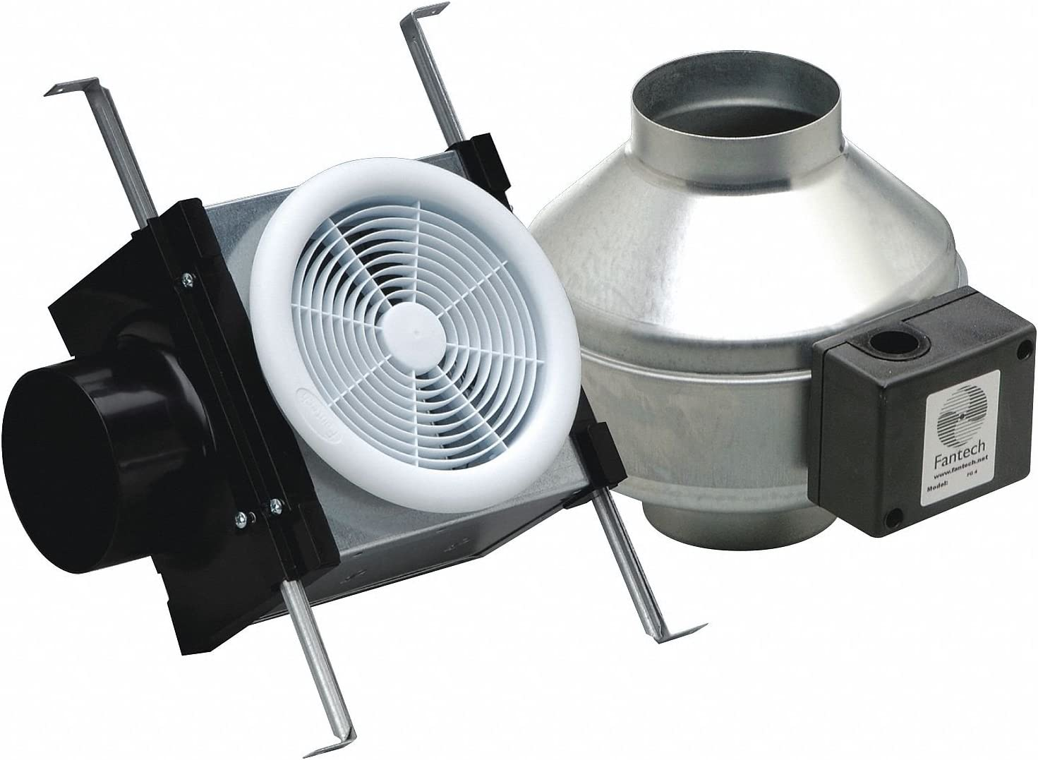 "Fantech PB190 Inline Exhaust Fan, 190 CFM, Bathroom Kit with FR140 Fan - for 6"" Duct"