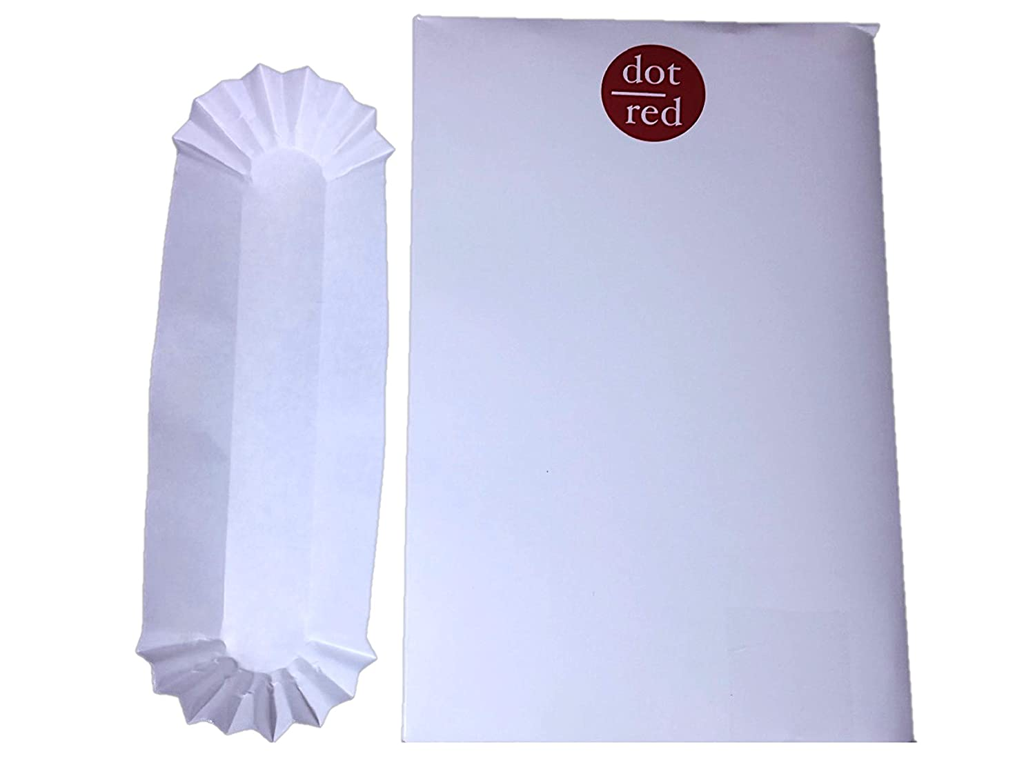 250ctFootlong Jumbo Fluted Hot Dog Tray Reinforced Disposable Paper Dot Red