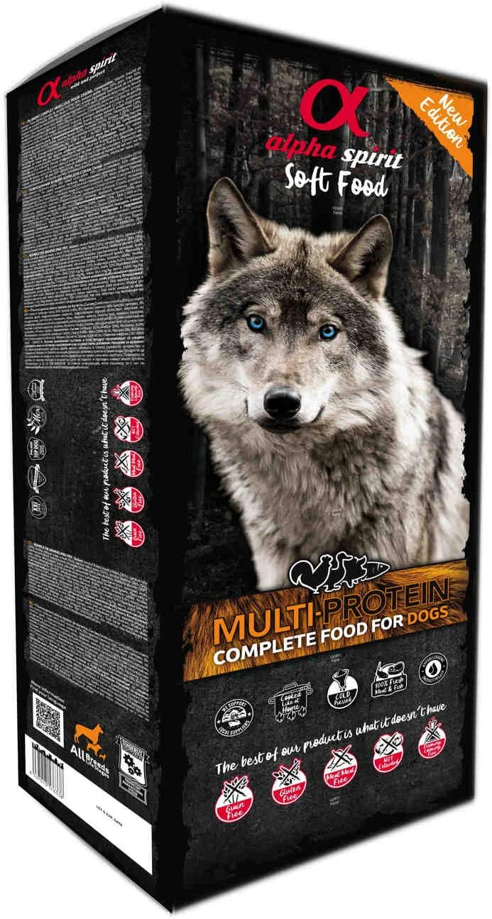 ALPHA Spirit Canine MULTIPROTEICO SEMIHUMEDO Caja 9KG, Negro, Mediano, 9000