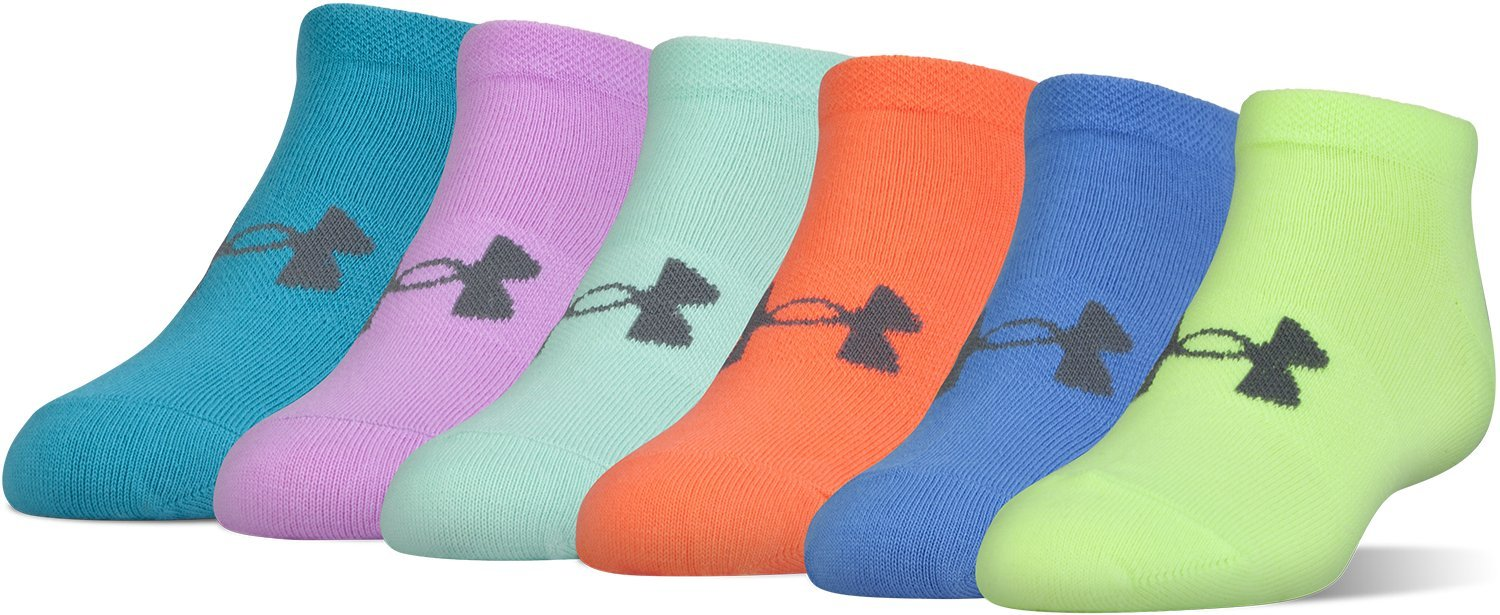 Under Armour Girls Essential No Show Socks (6 Pack), X-ray Yellow, Youth Large by Under Armour