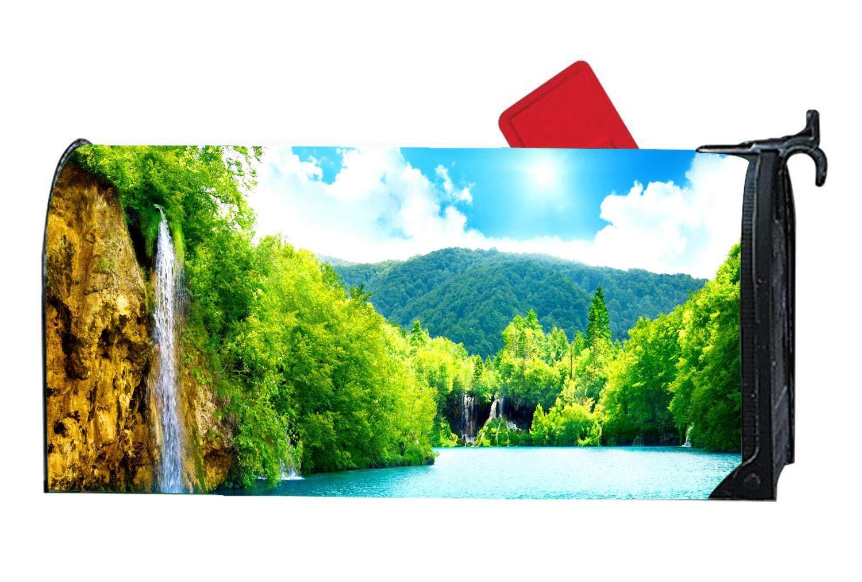 Customized Ocean, Flowers Decorative Mailbox Covers & Magnetic Mailwraps Vinyl - Sunlight Waterfalls