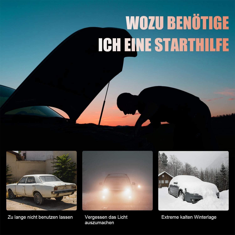 QC3,0 Ausgang YABER Starthilfe Powerbank 1200A Spitzstrom 15000mAh Auto Starthilfe f/ür 7,5L Benzin oder 6L Dieselmotor Starthilfeger/ät mit LED Taschenlampe