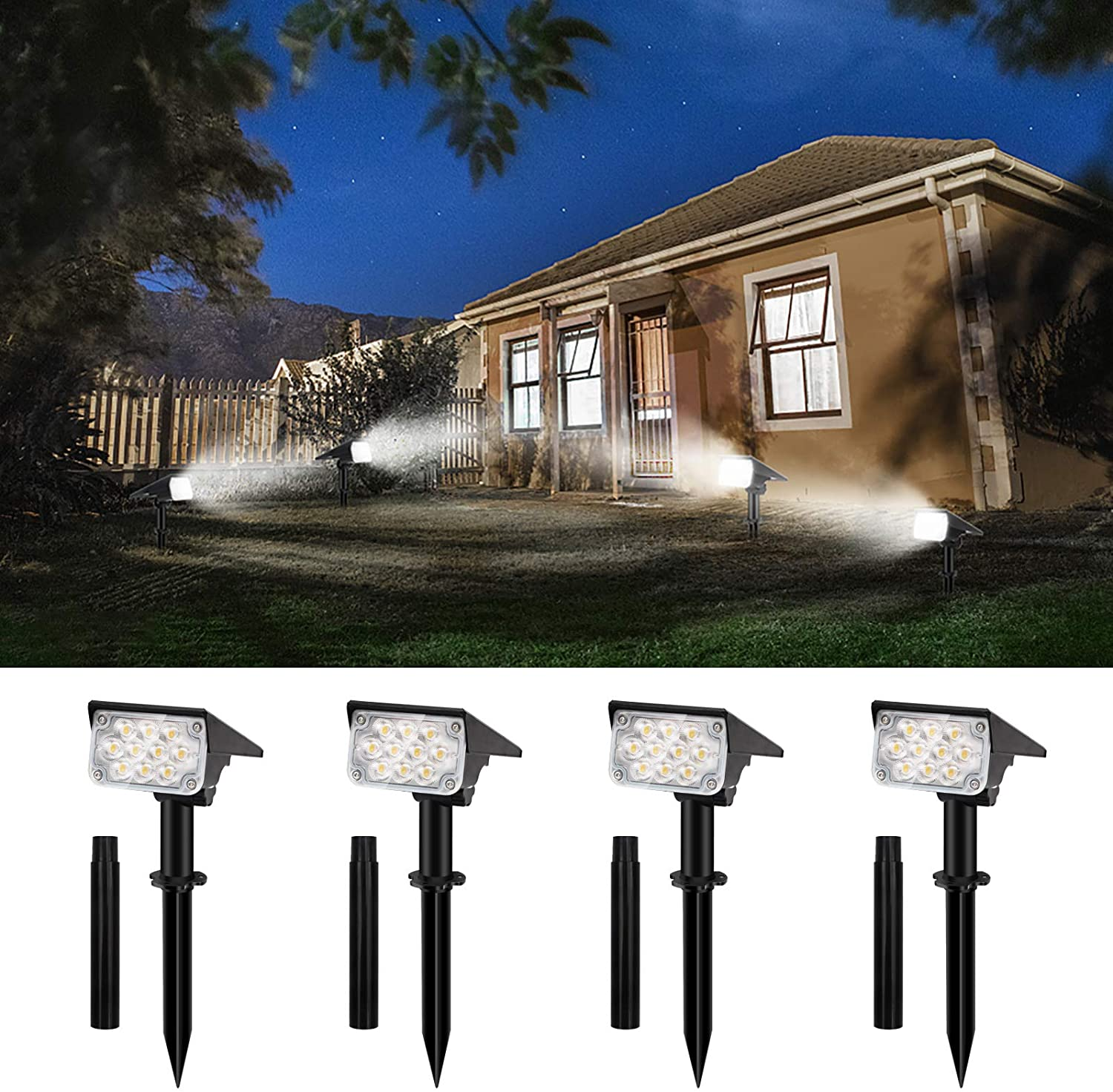 CHINLY Solar Landscape Spotlights, Outdoor Waterproof Solar-Powered Spot Lights with 20 LED & Extension Stake, IP67 Wireless Wall Lights for Yard Tree Garden Lawns Pathway Pool (White 4 Pack)