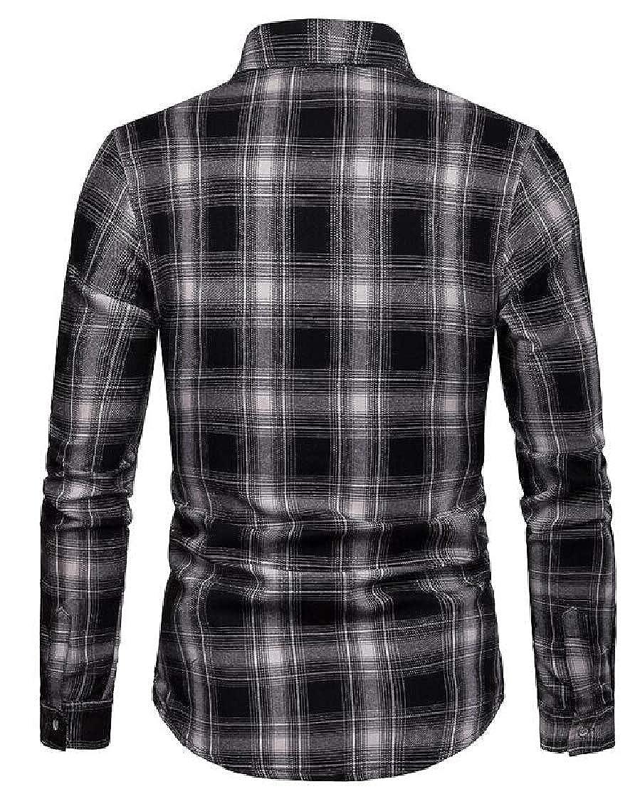 Cromoncent Mens Checkered Casual Slim Long-Sleeve Plaid Shirt