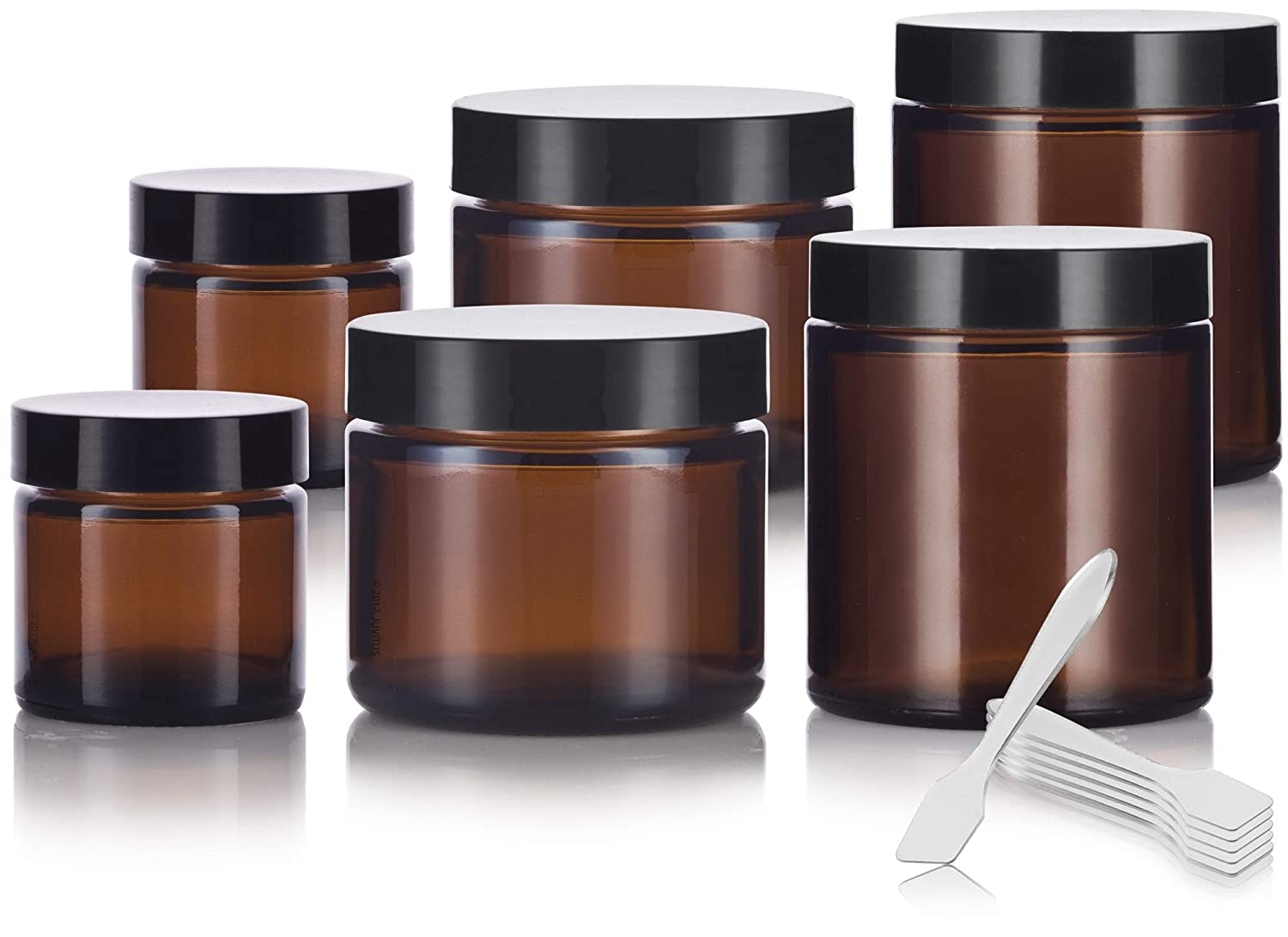6 piece Amber Glass Straight Sided Jar Multi Size Set Includes 2-1 oz, 2-2 oz, and 2-4 oz Amber Glass Jars with Black Lids Spatulas for Aromatherapy, Essential Oils, Travel and Home