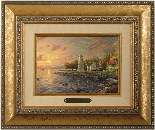Gold Frame Thomas Kinkade Stepping Stone Cottage 5 x 7 Brushwork