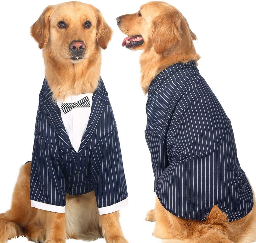 Black Jeeke Gentleman Pet Clothes Dog Suit Tie Wedding Formal Bowtie Dress for Dogs Costume