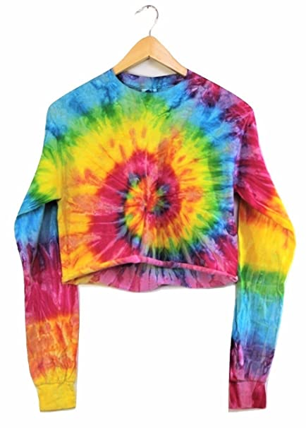 2f6552e520d Bright Rainbow Tie-Dye Cropped Long Sleeve Tee at Amazon Women s ...