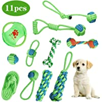 Dog Rope Toys- Queseen 11pcs Pet Dog Rope Chew Toys Puppy Braided Rope Toys Set Pet Dog Teeth Cleaning training Gift Chew Durable Interactive Cotton Toys Dental Health for Small/Medium/Large Dog Playing