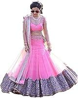 Salwar Style Women's Party Wear Bollywood Pink Net Heavy Bridal Wedding Lehenga Choli | Ghagra Choli