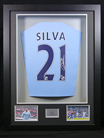premium selection 71bf0 2ab3a David Silva Manchester City Signed Shirt 3D Framed Display ...