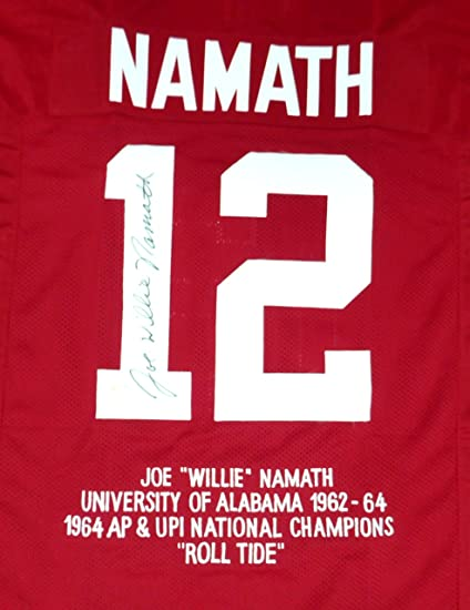 save off de09b 0e859 Alabama Crimson Tide Joe Namath Autographed Red Jersey