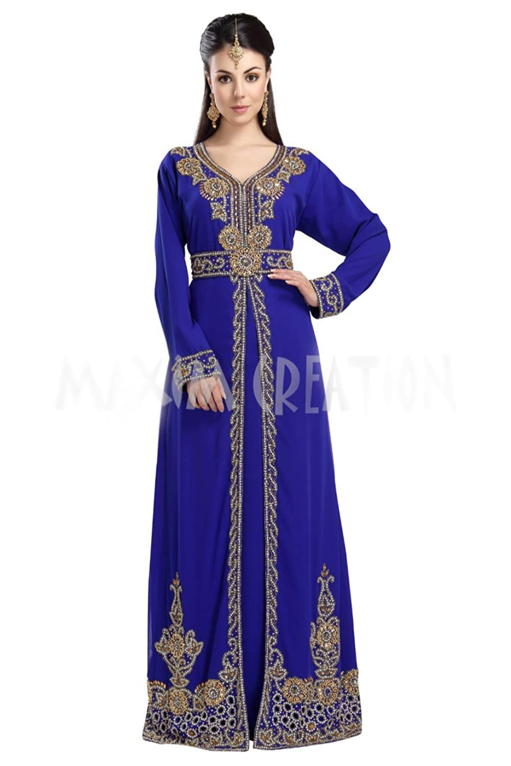 Floor Touch Party Wear Arabian Kaftan Dress With Unique Embroidery Design 5722