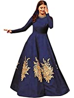 Siddeshwary Fab Women's Navy Blue Taffeta Silk Embroidered Gown for Women ( Navy blue _ Red _Black )