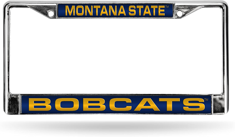 Rico Industries NCAA Montana State Bobcats Laser Cut Inlaid Standard Chrome License Plate Frame Chrome 6 x 12.25