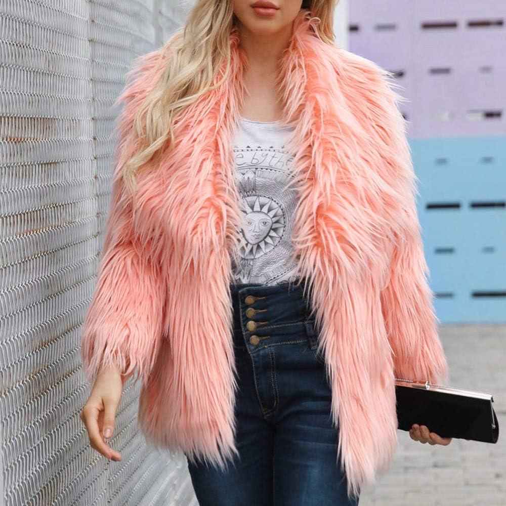 Kangma Womens Ladies Warm Faux Fur Coat Jacket Winter Solid Parka Large Lapel Outerwear