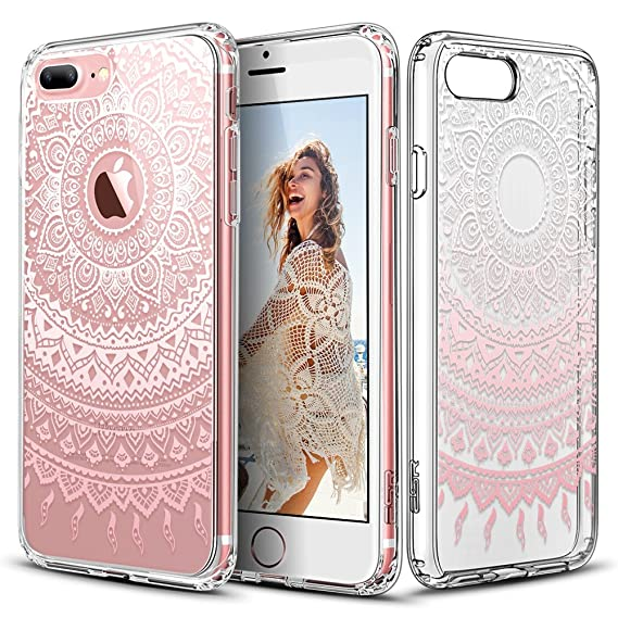 ESR iPhone 7 Plus Case, Totem Henna Mandala Floral Pattern Design with Soft TPU Bumper+Hard PC Back Cover for 5.5