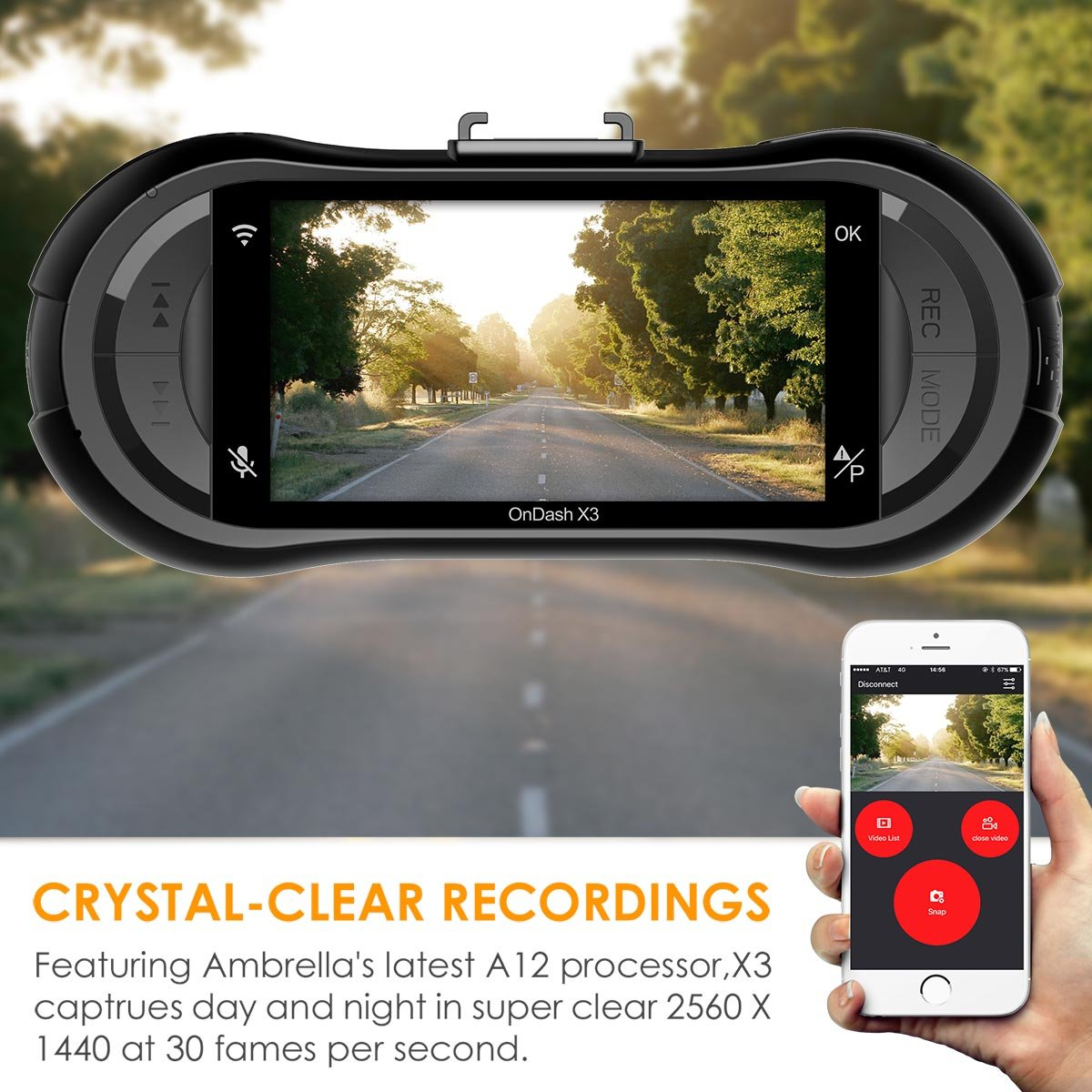 Vantrue X3 WIFI Dash Cam, Super HD 2.5K Car Dashboard Camera 1440P Car Camera with Ambarella A12 Chipset, 170°Wide Angle, Super HDR Night Vision, Loop Recording, Parking Mode, Motion Detection by VANTRUE (Image #2)