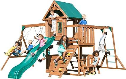 Monkey Bars Swing-N-Slide WS 8352 Knightsbridge Ultimate Swing Set with Slide Wood Wood Roof Picnic Table /& Glider Climbing Wall
