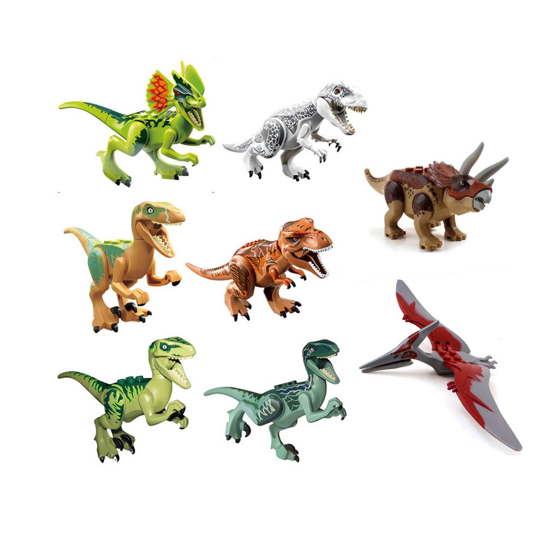 ArRord 8Pcs Jurassic Dinosaur Building Blocks Sets Dinosaur Bricks Toy