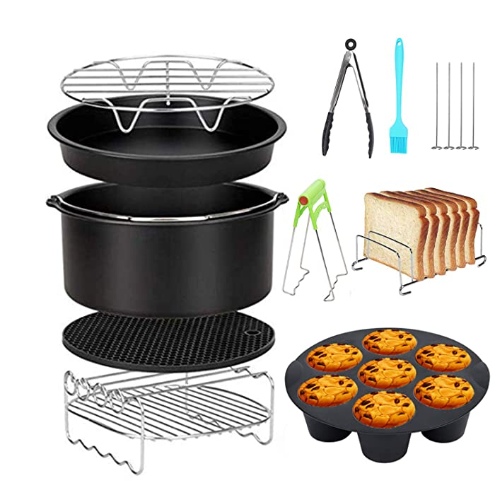 HoneySheep Air Fryer Accessories 8 Inch 10 Pcs for Gowise Phillips Cozyna Airfryer XL 3.8QT-5.8QT, Extra Gift 4PCS Barbecue Needle