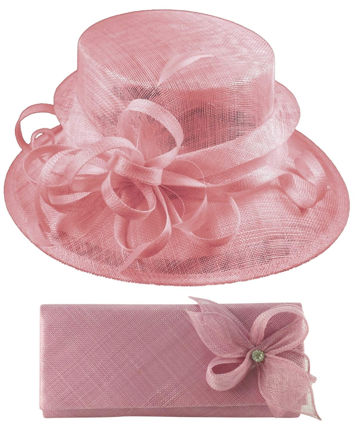 Elegance Collection Sinamay Wedding Hat Bundle with Matching Sinamay Bag (2 Items) in Lilac, Size: Medium (57cm)