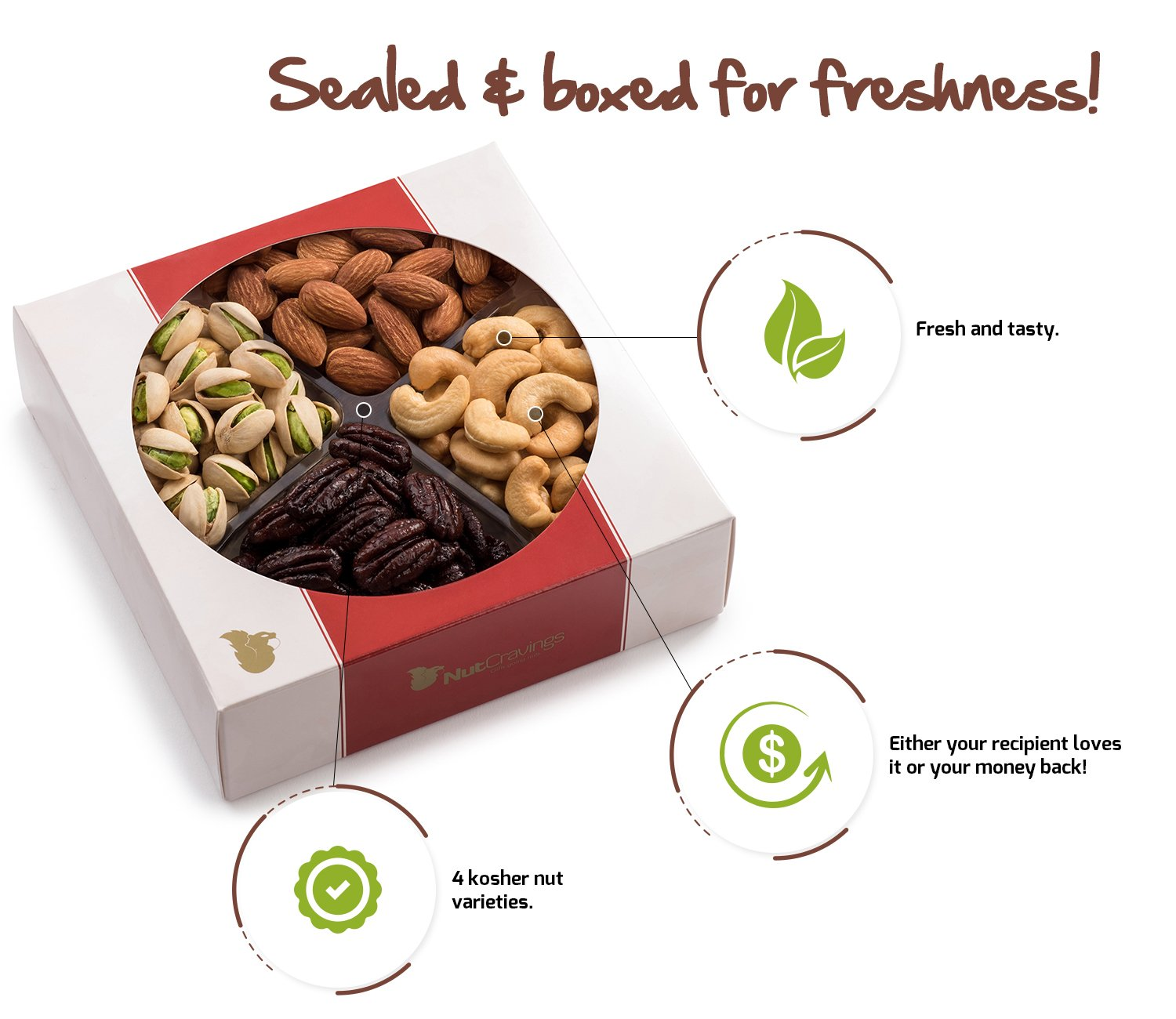 Nut Cravings Father's Day Gift Baskets - 4-Sectional Gourmet Mixed Nuts Prime Food Gift Tray - Healthy Holiday Gift Assortment For Birthday - Sympathy - Get Well - Corporate Gift Box - Or Any Occasion by Nut Cravings (Image #3)