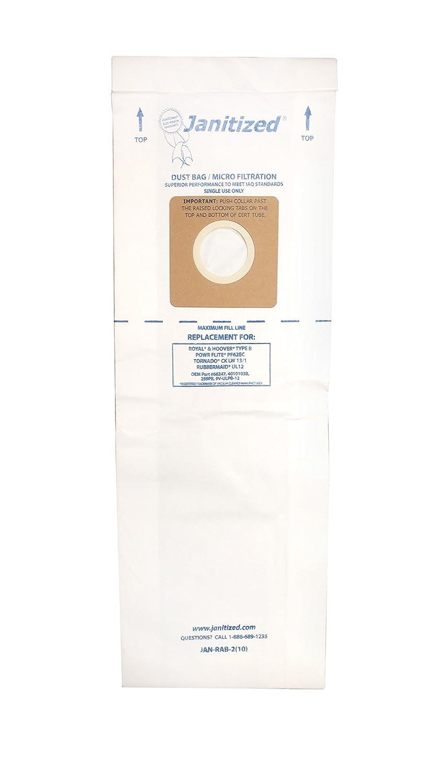 Janitized JAN-RAB-2(10) Premium Replacement Vacuum Paper Bag, Royal B, Hoover B, Rubbermaid UL12, Power Flite PF62EC, OEM#66247, 1801406000, 4010103B (Pack of 10)