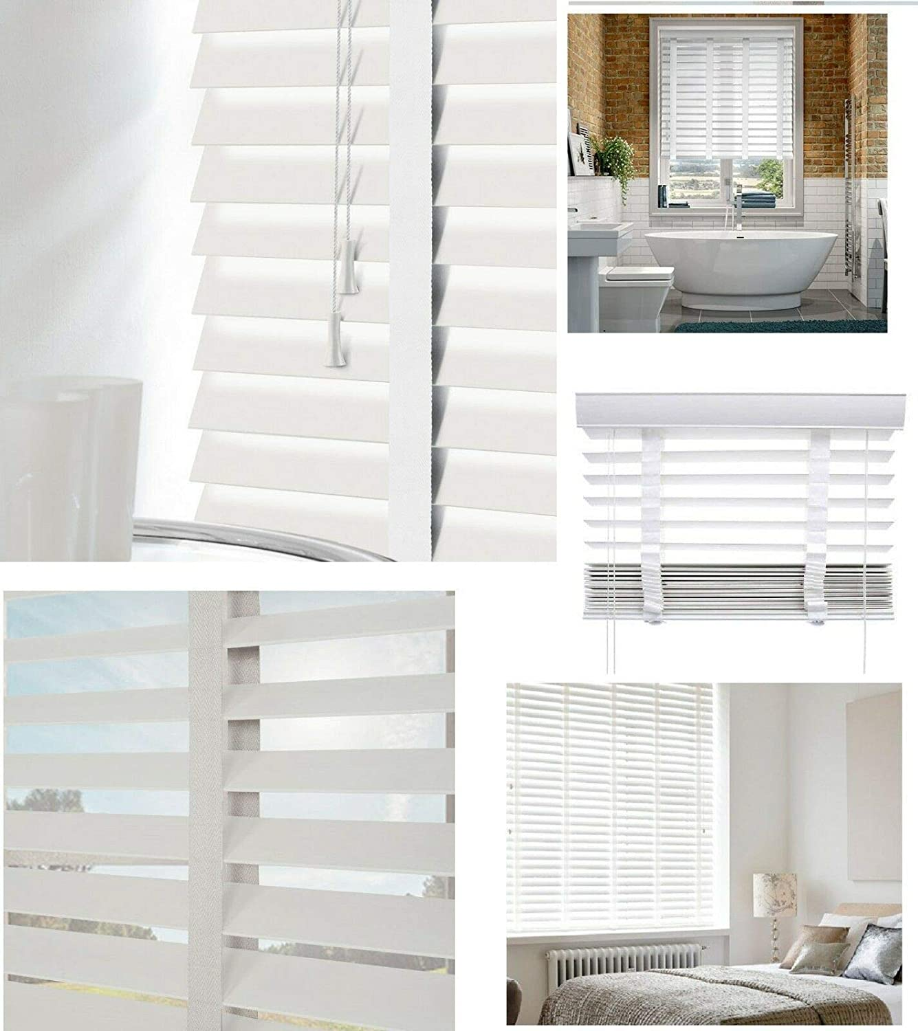 Optimal Products Faux Wood Wooden Venetian Blinds Blind With Tape 50mm Slats White Fittings Included Easy Fit White 45x150 Cm 18 X60 Amazon Co Uk Kitchen Home
