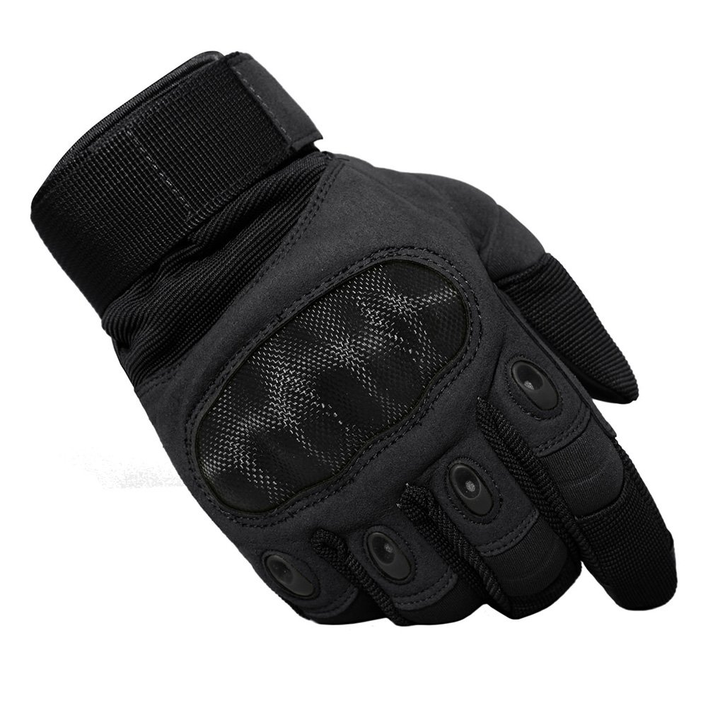 TACVASEN Tactical Rubber Hard Knuckle Cycling Motorcycle Hiking Camping Airsoft Paintball Gloves HXTG-80-Black-L