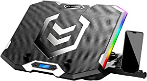 ICE COOREL RGB Laptop Cooling Pad for 15.6-17.3 Inch,Gaming Laptop Cooler with 6 Quiet Cooling Fans and 6 Stand Height Adjustable,LCD Screen and Rainbow Lights,Two USB Ports and One Phone Stand