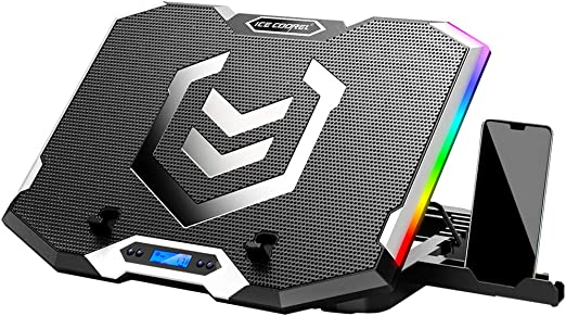 Amazon Com Ice Coorel Rgb Laptop Cooling Pad For 15 6 17 3 Inch Gaming Laptop Cooler With 6 Quiet Cooling Fans And 6 Stand Height Adjustable Lcd Screen And Rainbow Lights Two Usb Ports And One Phone Stand