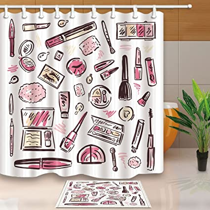 Cosmetics And Make Up Shower Curtains Watercolor Perfume Lipstick For Girls 708X708in
