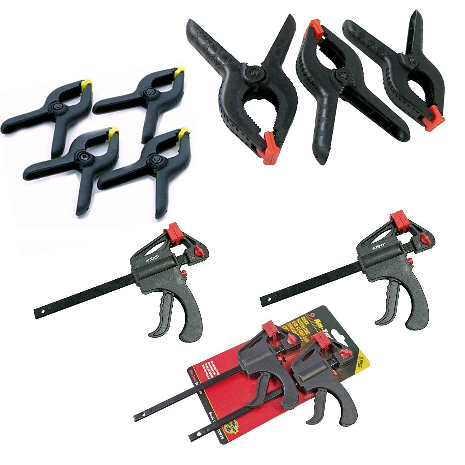 Clamps Quick Grip, Clamps for Woodwork Including Amtech 6' Heavy Duty Spring Clamps x 3, 4' & 6' Amtech Ratchet Clamps & Spring Clamp Grips Clamps for Woodwork Including Amtech 6 Heavy Duty Spring Clamps x 3