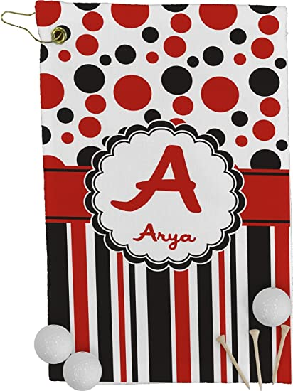 Amazon.com : RNK Shops Red & Black Dots & Stripes Golf Towel - Full on tour golf towels, basketball towels, car wash towels, golf club towels, golf course towels, football towels, sports towels, volleyball towels, hockey towels, wedding towels, swimming towels, closeout golf towels, microfiber golf towels, golf towels wholesale,